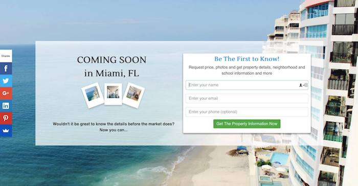 Landing Pages For Coming Soon Listings