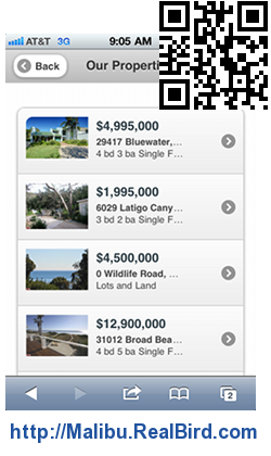 Mobile Real Estate Website With QR ans SMS Code